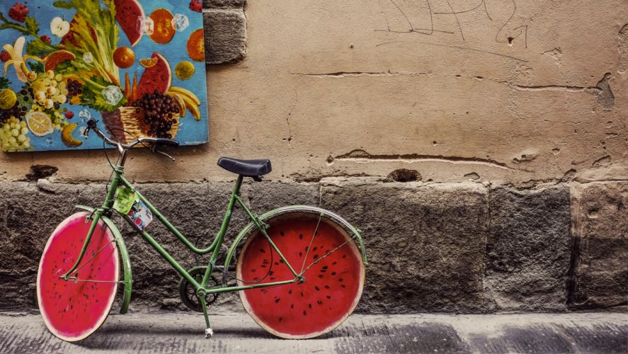 bicycle bike brick classic concrete fruits old painting retro street vintage wall watermelon wheels wallpaper