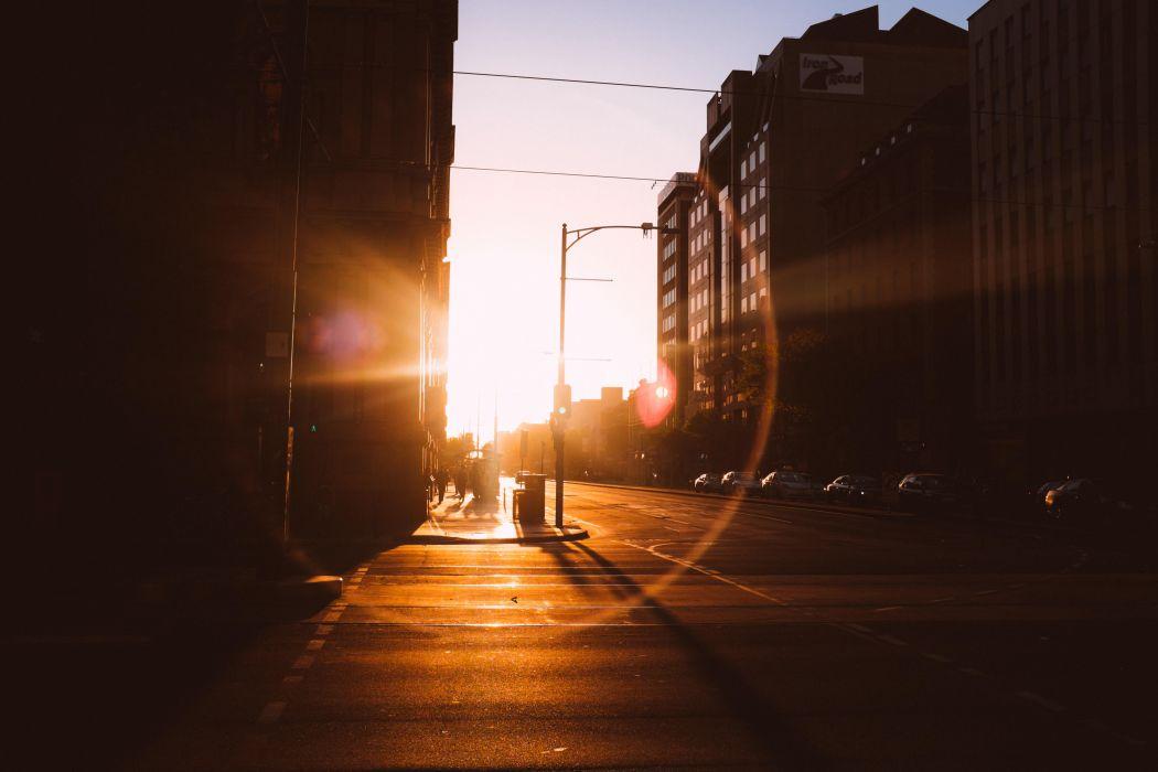 Blur Building Car City Dark Dawn Dusk Evening Lamppost Light Motion People Road Silhouette Street Sun