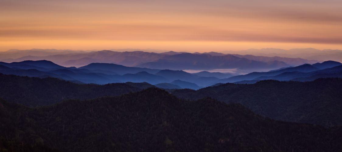 dawn fog landscape mountain range mountains nature panoramic scenic sky wallpaper
