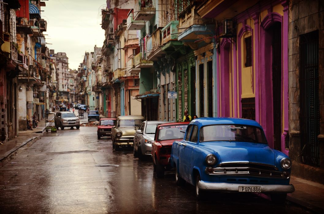 cars city cityscape colorful houses colourful houses old parked rainy street vintage wet wallpaper