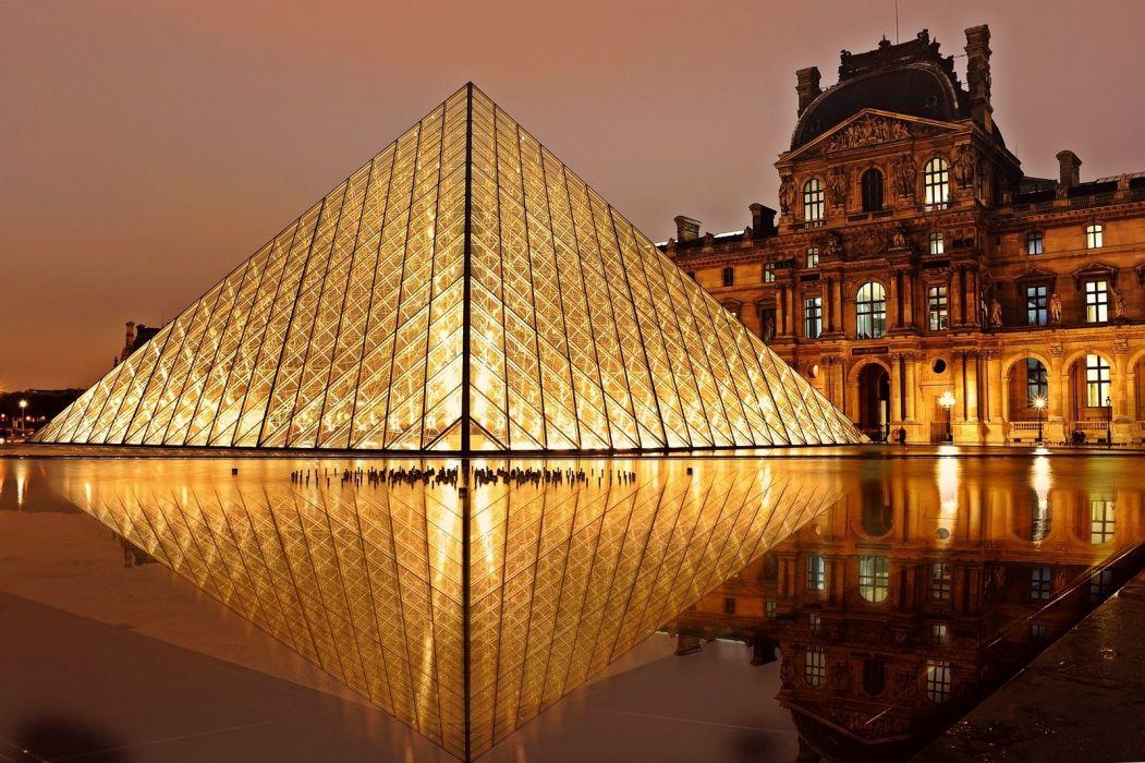 evening exhibition france historical landmark lights louvre monument museum night paris pyramid reflection wallpaper