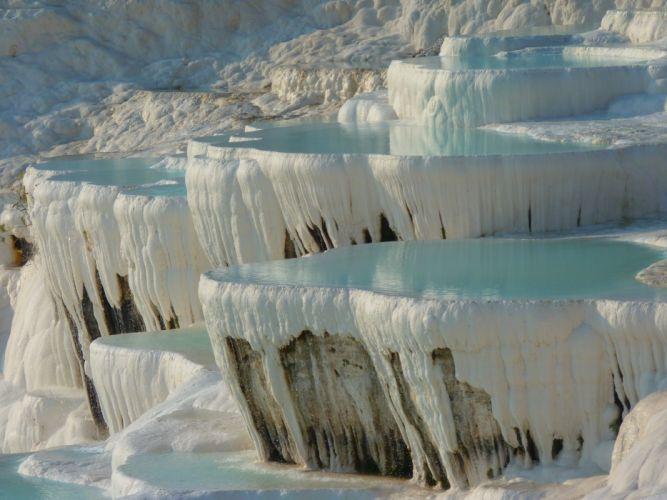 pamukkale calcium geology landscape lime sinter terrace limestone mineral natural pamukkale thermal springs turkey unesco water wallpaper