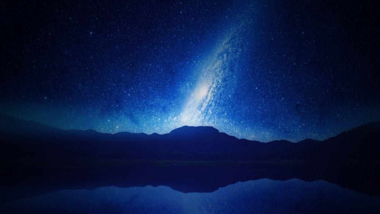 galaxy long-exposure milky way mountains nature night orbit sky stars trail universe wallpaper