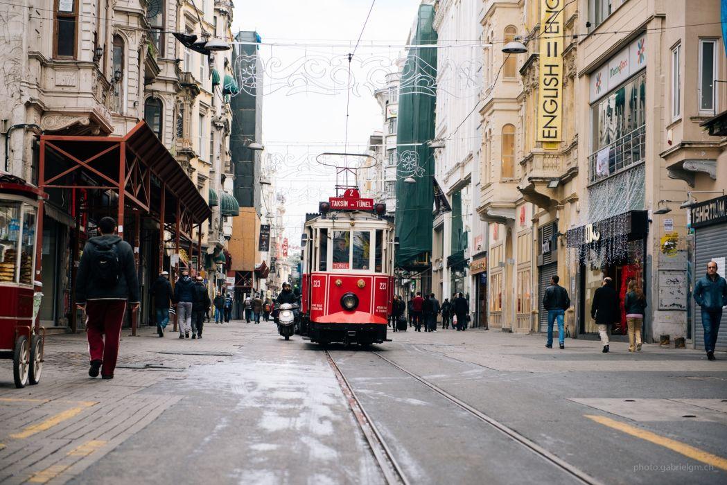 turkey istanbul city people public transportation shops small town street train tram wallpaper