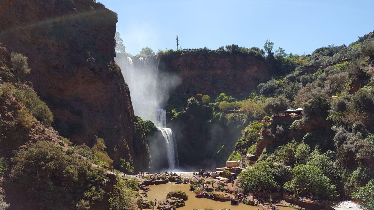 landscape morocco mountain nature Ouzoud river rocks trees water waterfalls wallpaper