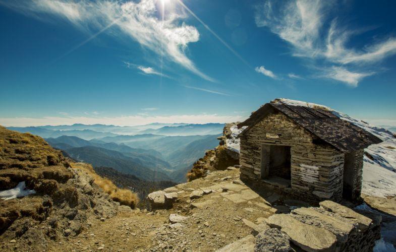 house mountain range mountains outdoors rocks scenic sky wallpaper