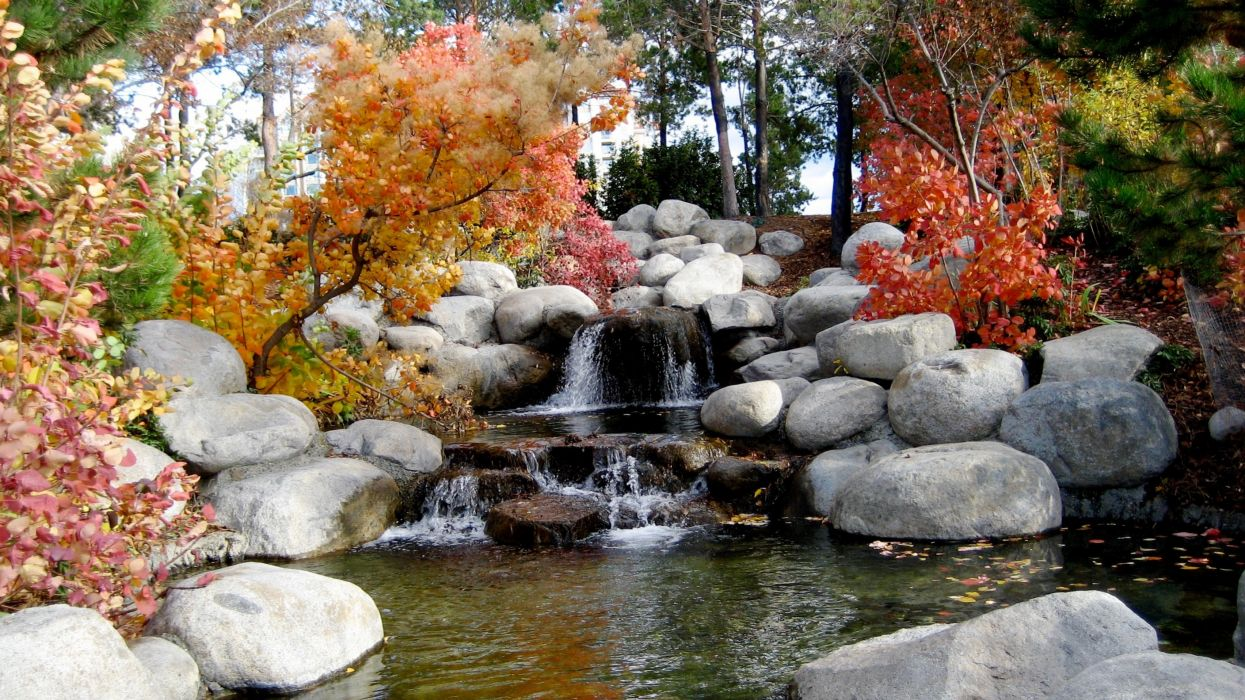 autumn boulder creek environment fall landscape leaves nature outdoors park river rocks scenic season stones stream travel trees water wood woods wallpaper