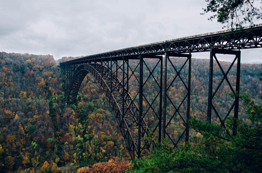 architecture bridge forest greenery nature railway bridge steel arch bridge trees valley wallpaper