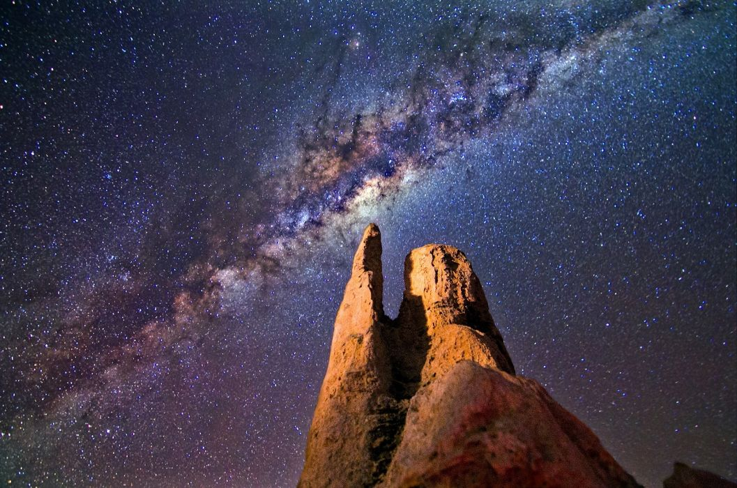 astronomy cosmos exploration formation galaxy light milky way mountain natural night outdoors rock formation rocks scenery scenic science space stars travel wallpaper