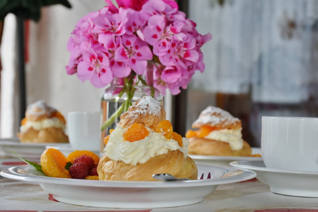 baked goods baking berries blur breakfast choux pastry cream delicious dessert eat epicure flower vase focus food fork fruit fruits glass mug pastries pastry plate refreshment still life strawberry sugar sweet wallpaper