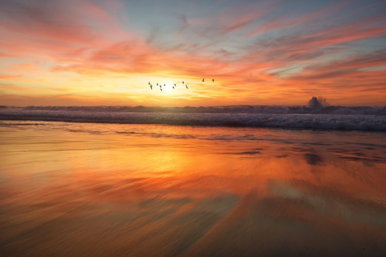 beach dawn dusk nature ocean reflection sand sea seascape seashore sky sunrise sunset water waves wallpaper