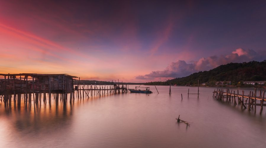 beach boat dawn dusk jetty nature ocean pier sea seascape seashore sky sunrise sunset water wallpaper