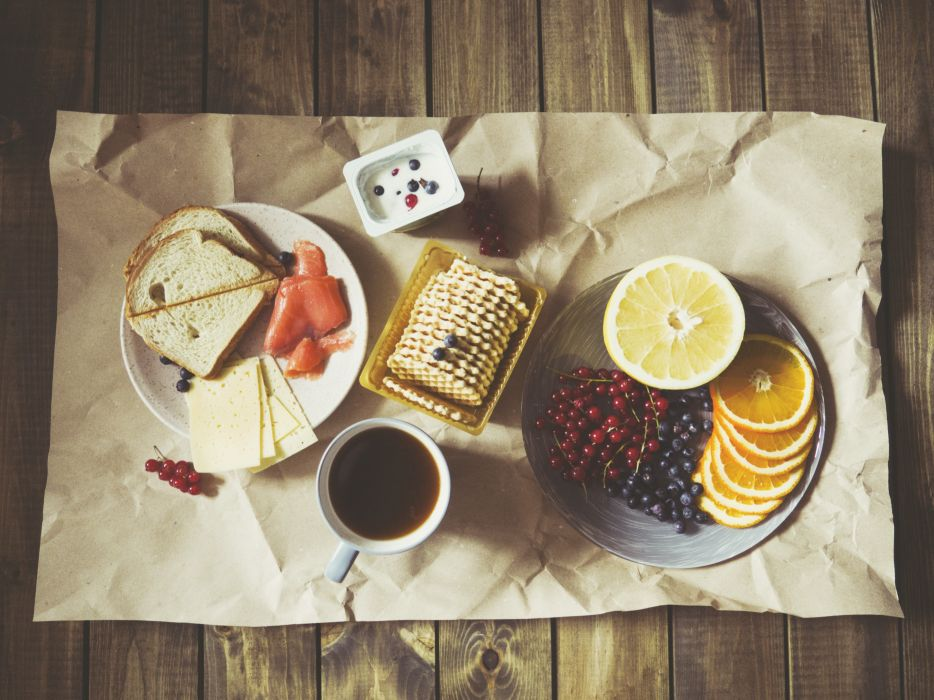 berries blueberries bread breakfast cheese coffee cup delicious food fruits grapefruit healthy orange plates salmon tasty waffles wallpaper