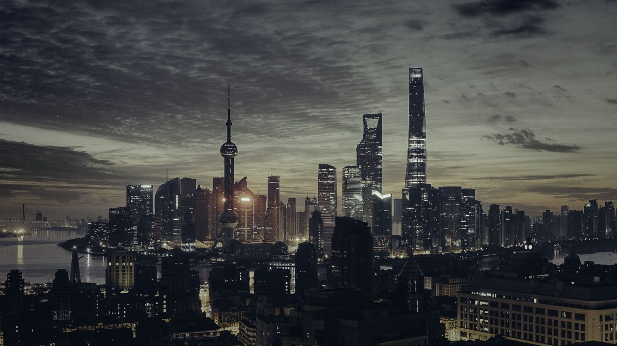 buildings city cityscape downtown high-rises night shanghai sky skyline skyscraper urban wallpaper
