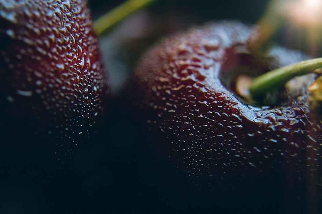 blur cherries close-up dark dewdrops focus fruit grow macro rain waterdrops wallpaper