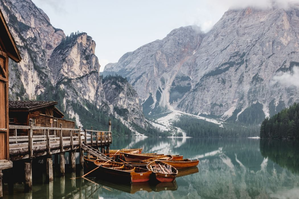 boats lake landscape mountain outdoors placid reflection river scenic valley water watercrafts wallpaper