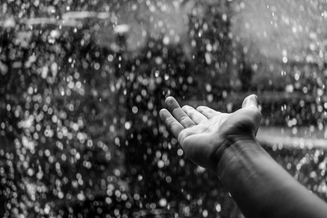 black-and-white hand person raining wallpaper