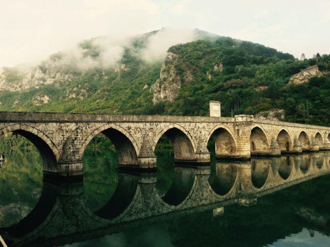 bridge reflection river wallpaper