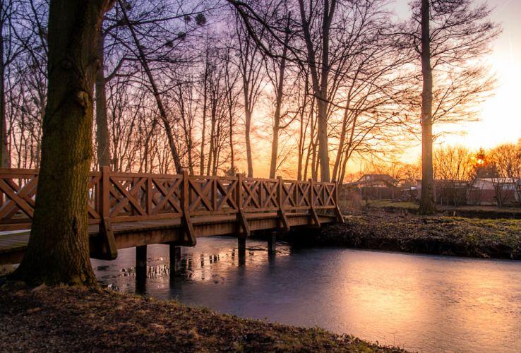 bridge dawn dusk overpass river sunrise sunset trees wallpaper