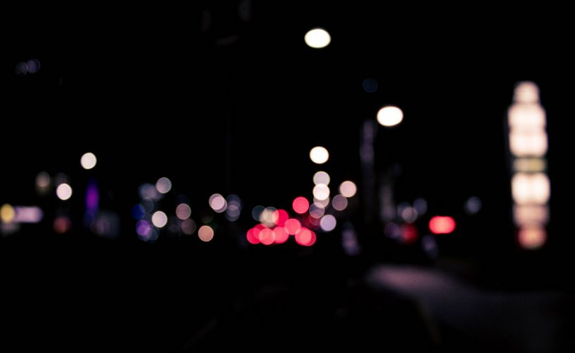 blur bokeh dark defocused evening illuminated lights luminescence night street urban wallpaper
