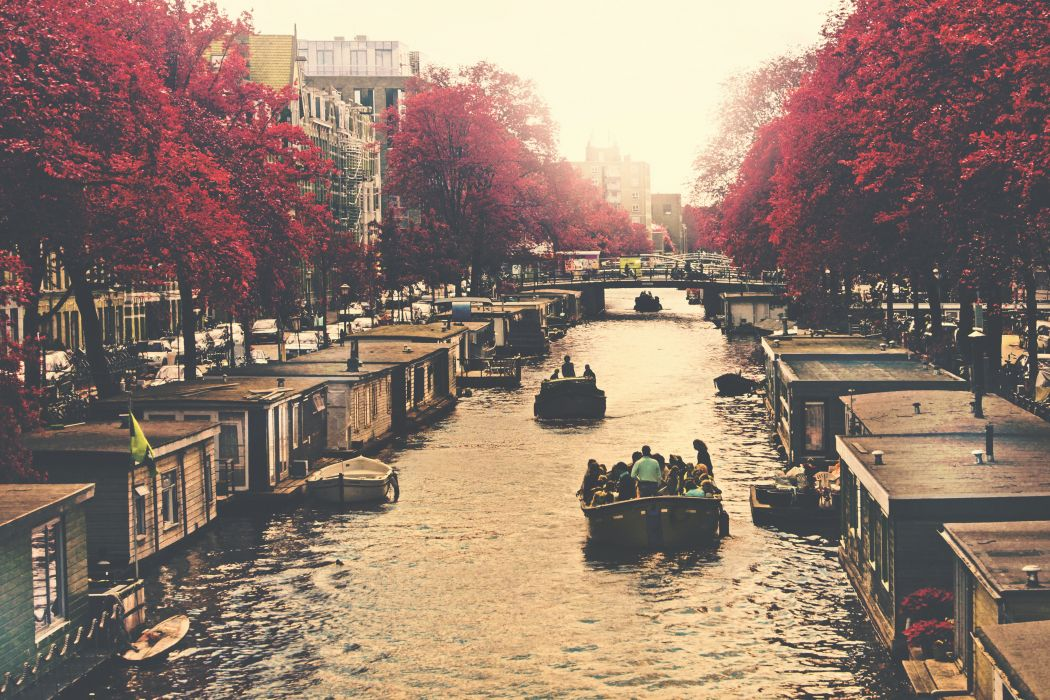 boats bridge buildings canal city river town trees urban water wallpaper