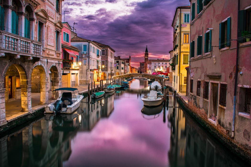 boats buildings canal city clouds reflection river sky venice water wallpaper