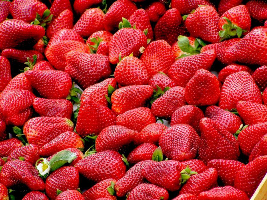 food fruits red strawberries wallpaper