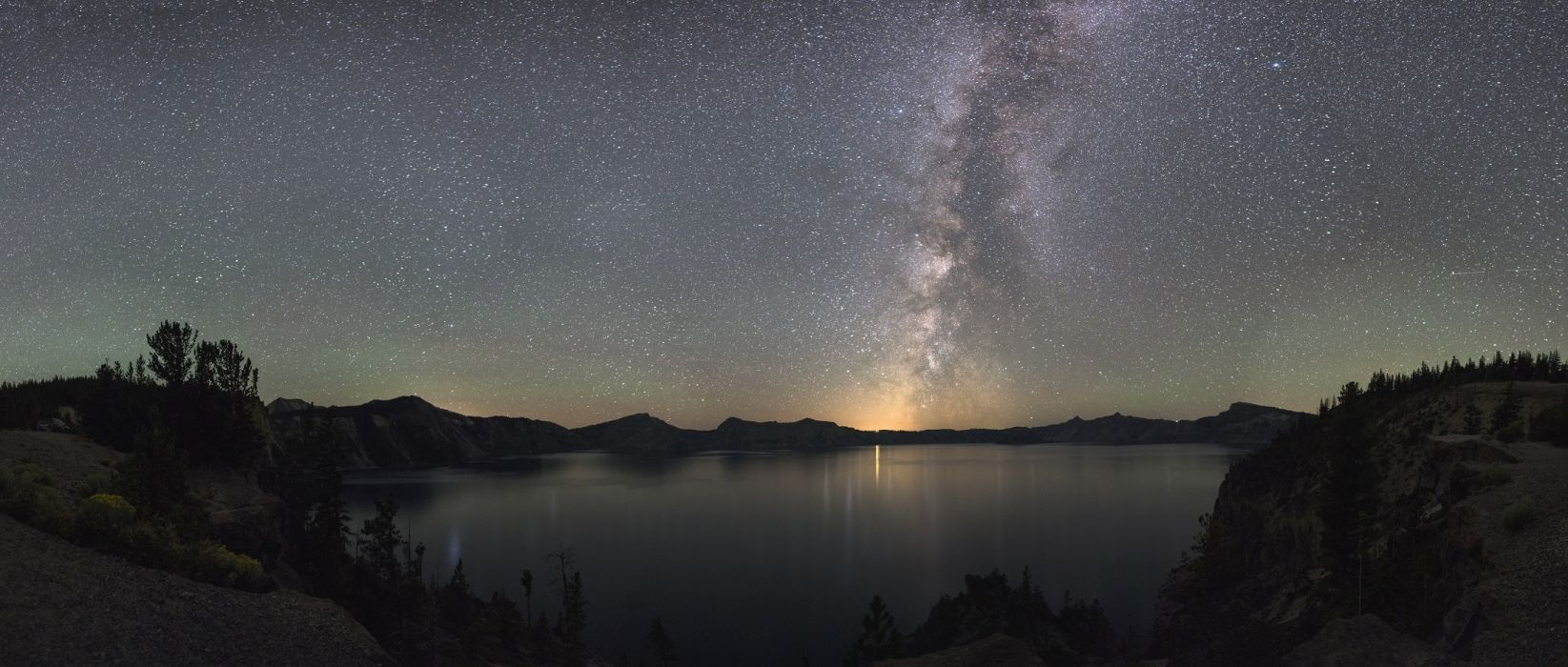 cosmos crater lake national park dawn dusk evening galaxy lake landscape light milky way moon mountain natural night oregon outdoors panorama reflection scenery silhouettes sky starry stars sunset travel view water wilderness wallpaper