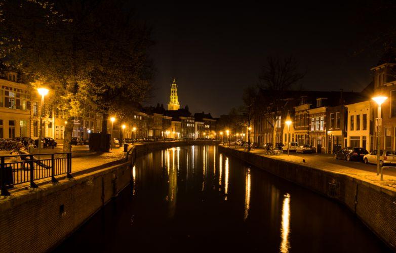 canal city evening groningen hoge der a netherlands night river wallpaper
