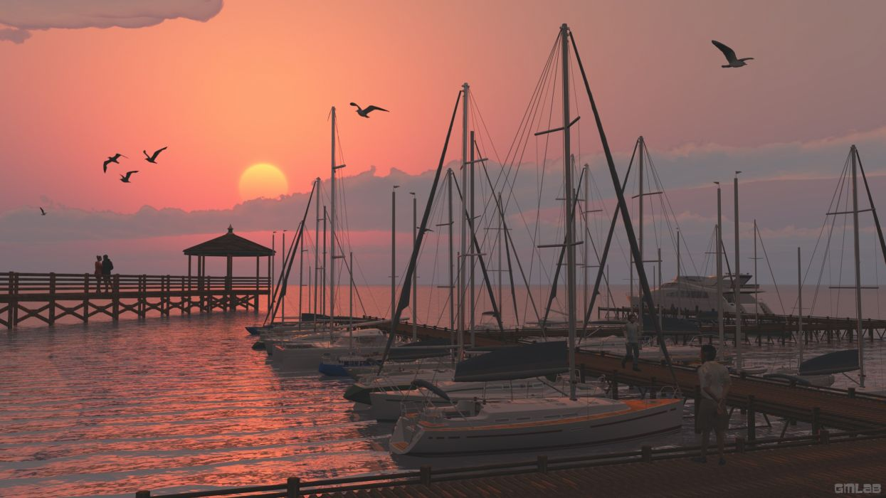 Small harbor with a romantic sunset wallpaper