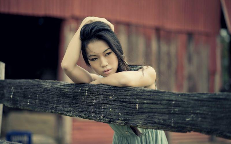 Sensuality woman-girl-sexy-sensual-brunette-asian-fence wallpaper