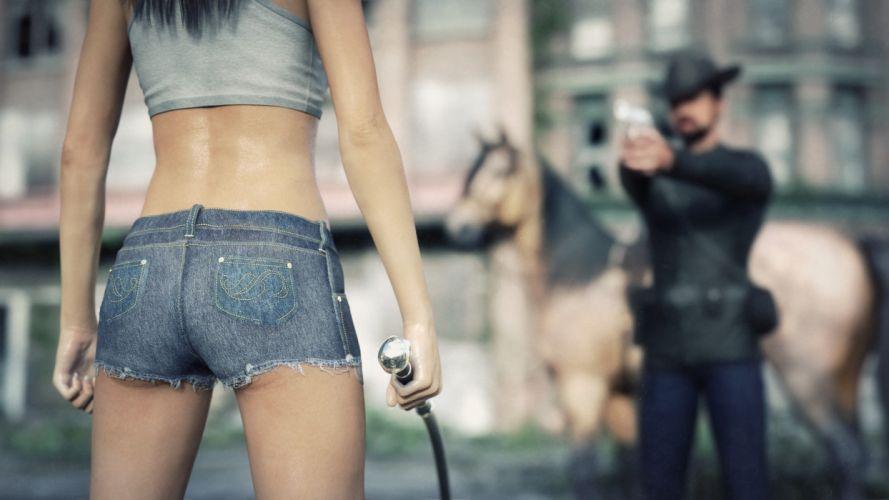 Sensuality woman-girl-sexy-sensual-denim-shorts-jeans-freeze-dont-move wallpaper