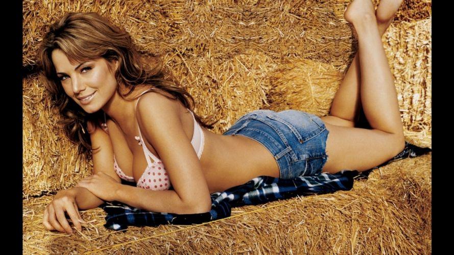 Sensuality woman-girl-sexy-sensual-denim-shorts-jeans-bra-hay wallpaper