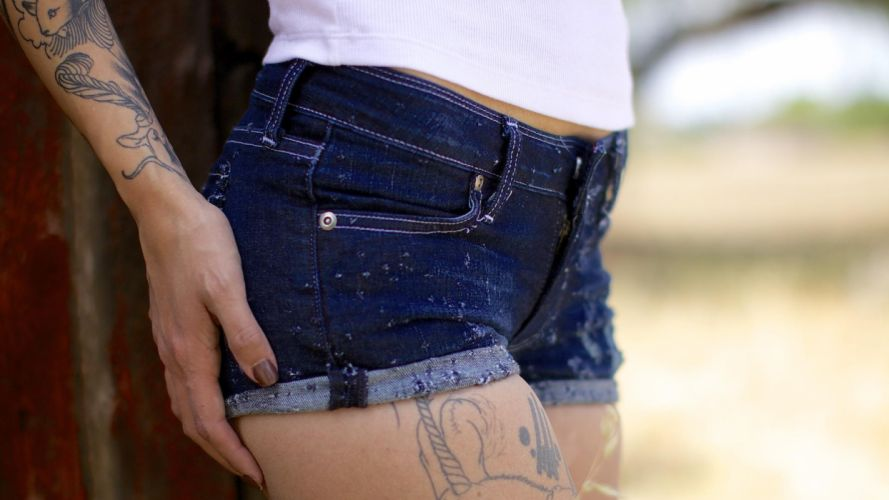 Sensuality woman-girl-sexy-sensual-denim-shorts-jeans-tight-tattoo wallpaper