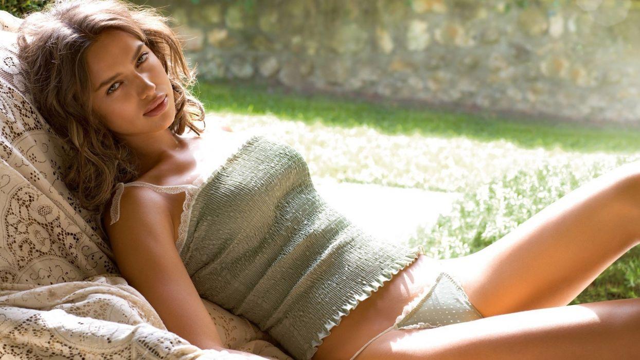 Sensuality woman-girl-sexy-sensual-Irina Shayk-tops-strings-thongs-lying wallpaper