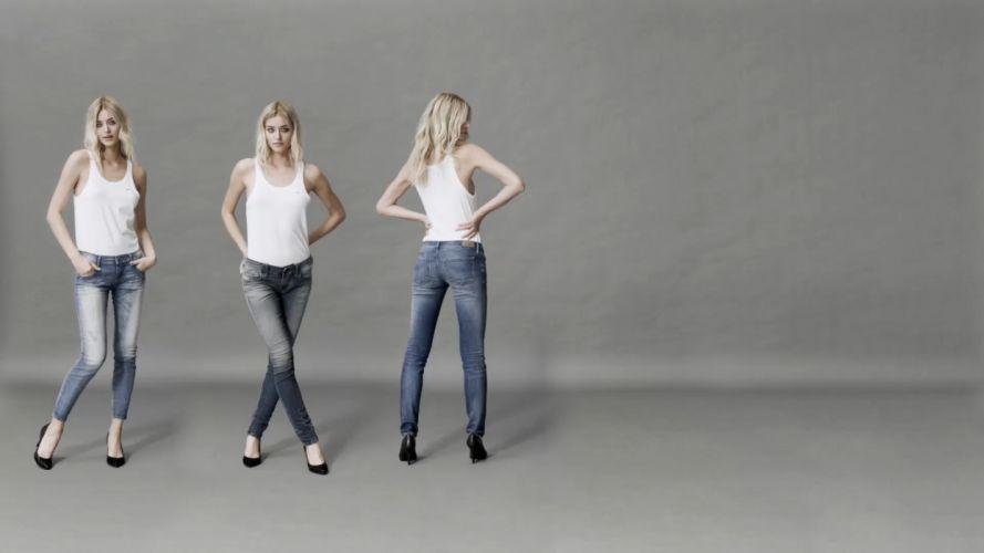 Sensuality woman-girl-sexy-sensual-jeans-denim-pants-blonde-model-skinny wallpaper
