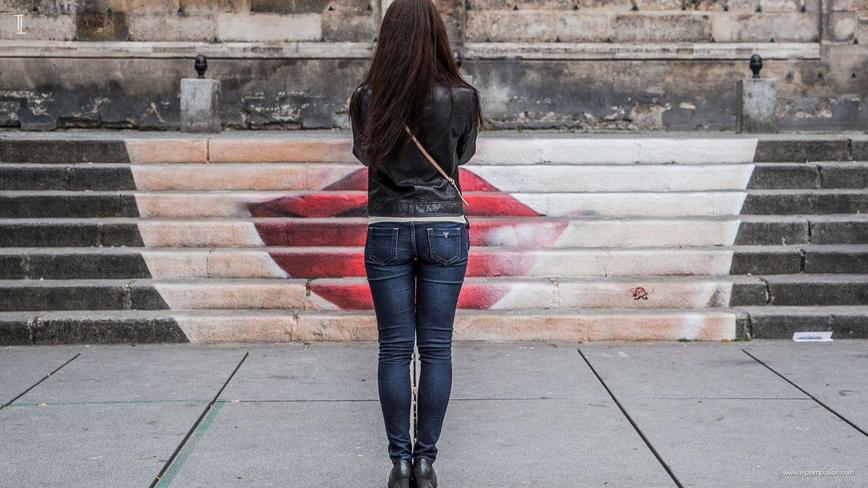 Sensuality woman-girl-sexy-sensual-jeans-denim-pants-paris-ladder-lips wallpaper