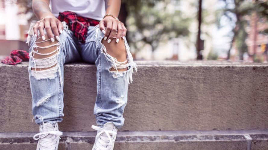 Sensuality woman-girl-sexy-sensual-jeans-denim-torn-pants-style-sneakers wallpaper