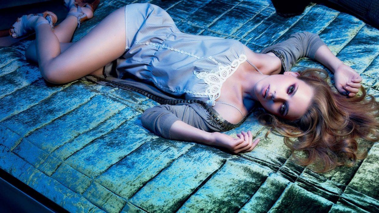 Sensuality woman-girl-sexy-sensual-model-nightdress-lying-bed wallpaper