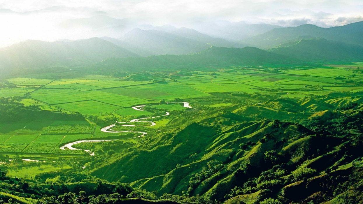 valle rio verde naturaleza montay wallpaper