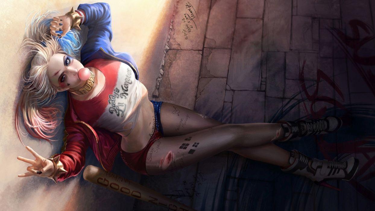 Arts sensuality-sensual-sexy-woman-girl-art-comics-Harley Quinn-Suicide Squad-bat-baseball-sitting wallpaper