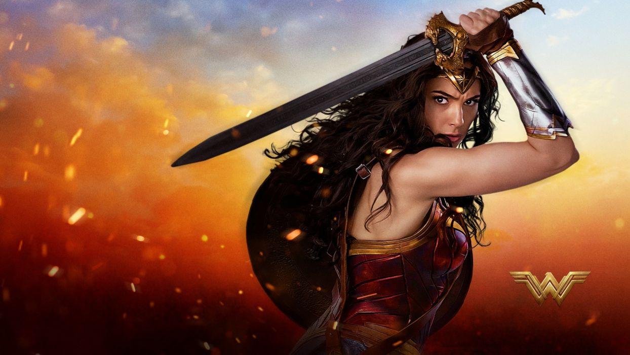 Movie Wonder Woman 2017 Gal Gadot Sword Shield Warrior