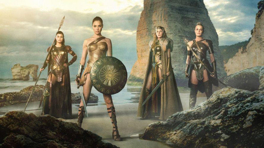Movie Wonder Woman-2017-girl-Gal Gadot-sword-shield-warrior-sea wallpaper