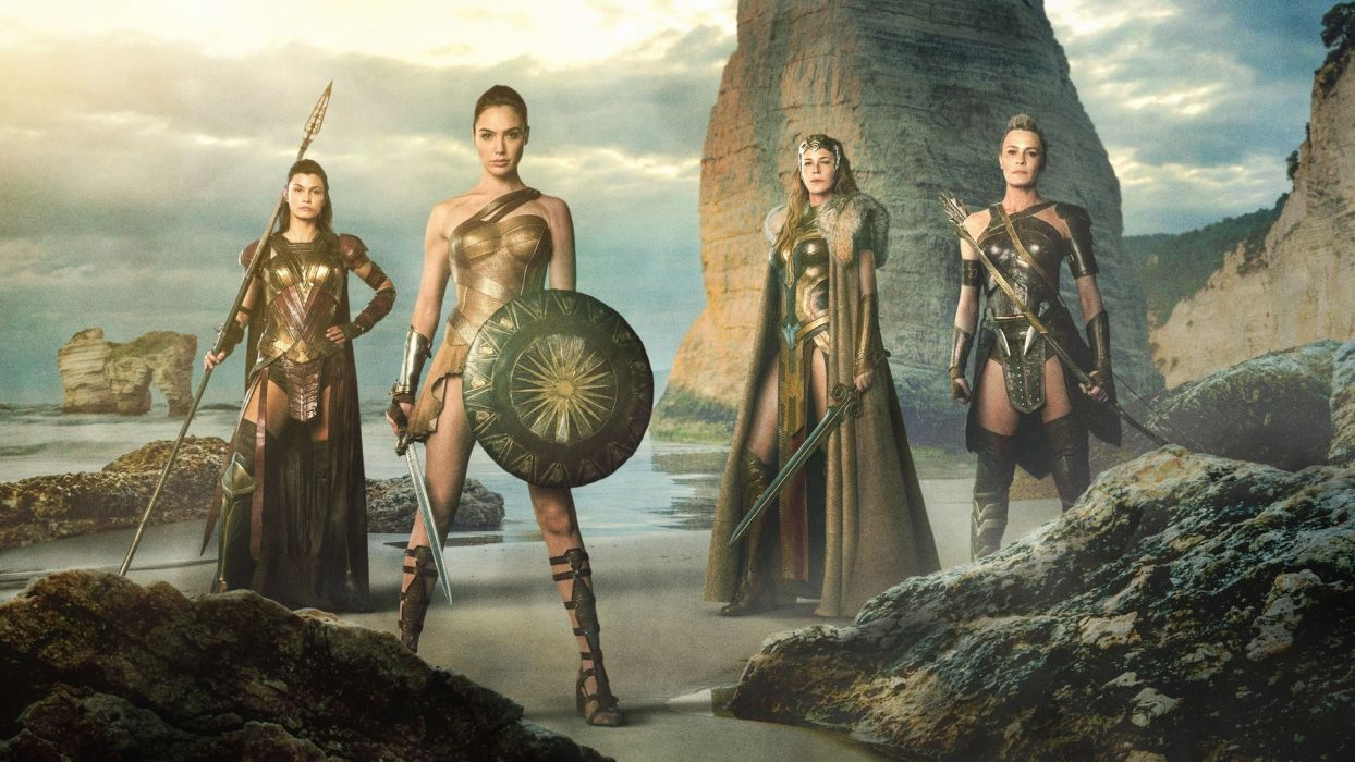Movie Wonder Woman-2017-girl-Gal Gadot-sword-shield-warrior-sea wallpaper