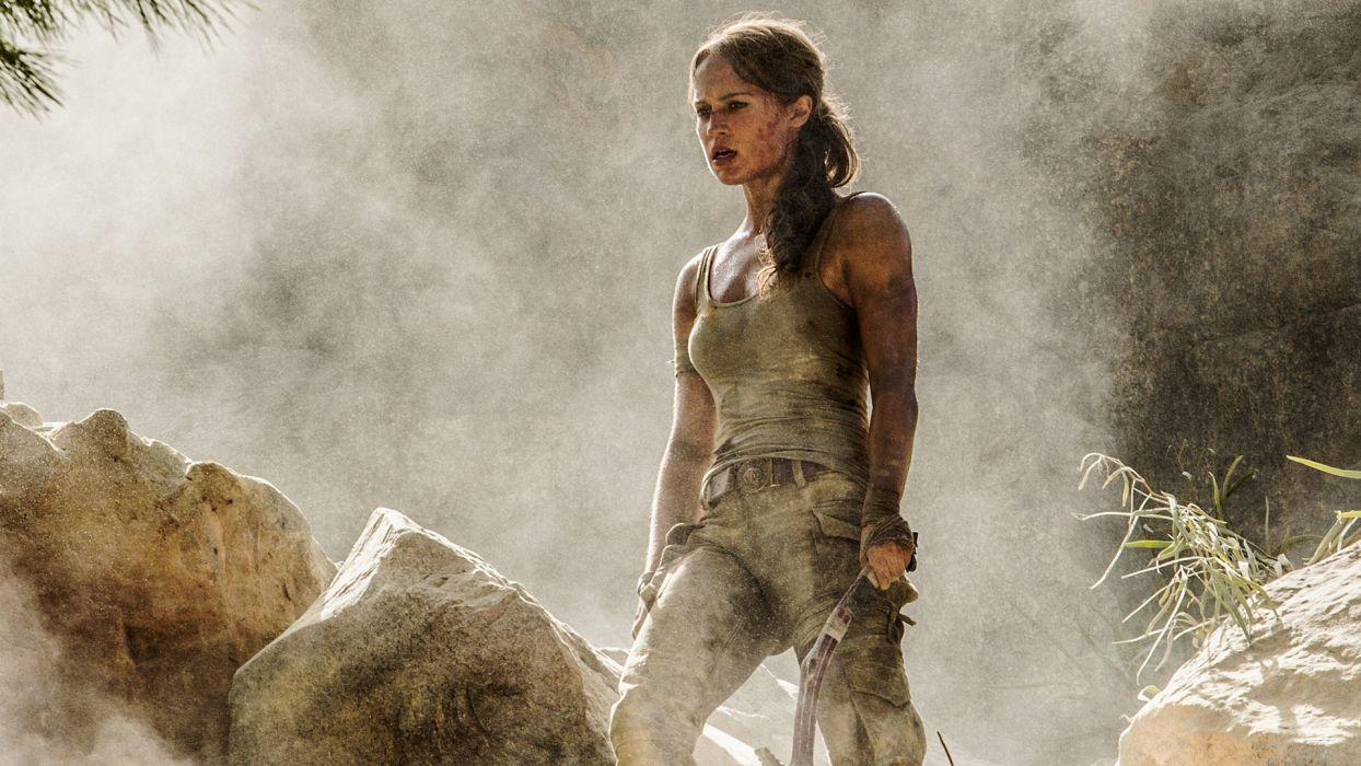 Sensuality sensual-sexy-woman-girl-Tomb Raider 2018-Alicia Vikander-smoke wallpaper