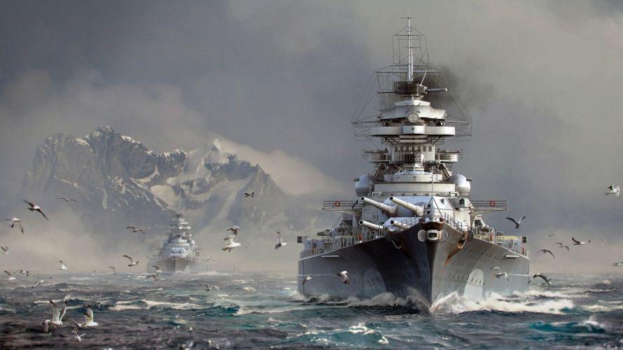 Game battle-world-of-warships-art-sea-seagull wallpaper