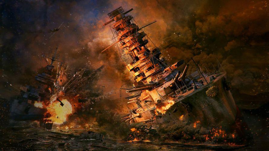 Game battle-world-of-warships-art-sea-wreck-explosion wallpaper