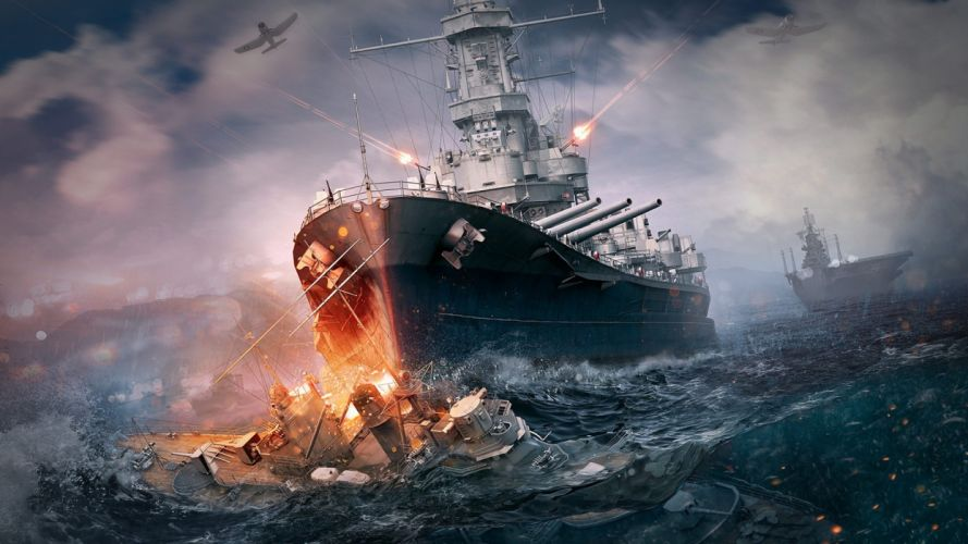 Game battle-world-of-warships-art-sea-explosion wallpaper