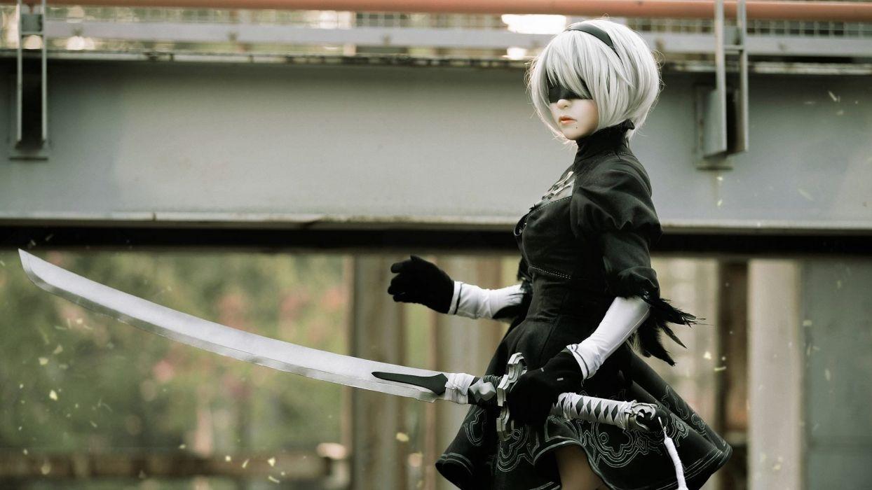 Game sensuality-sensual-sexy-woman-girl-art-Nier Automata-Yorha 2b-blindfold-cosplay-katana wallpaper