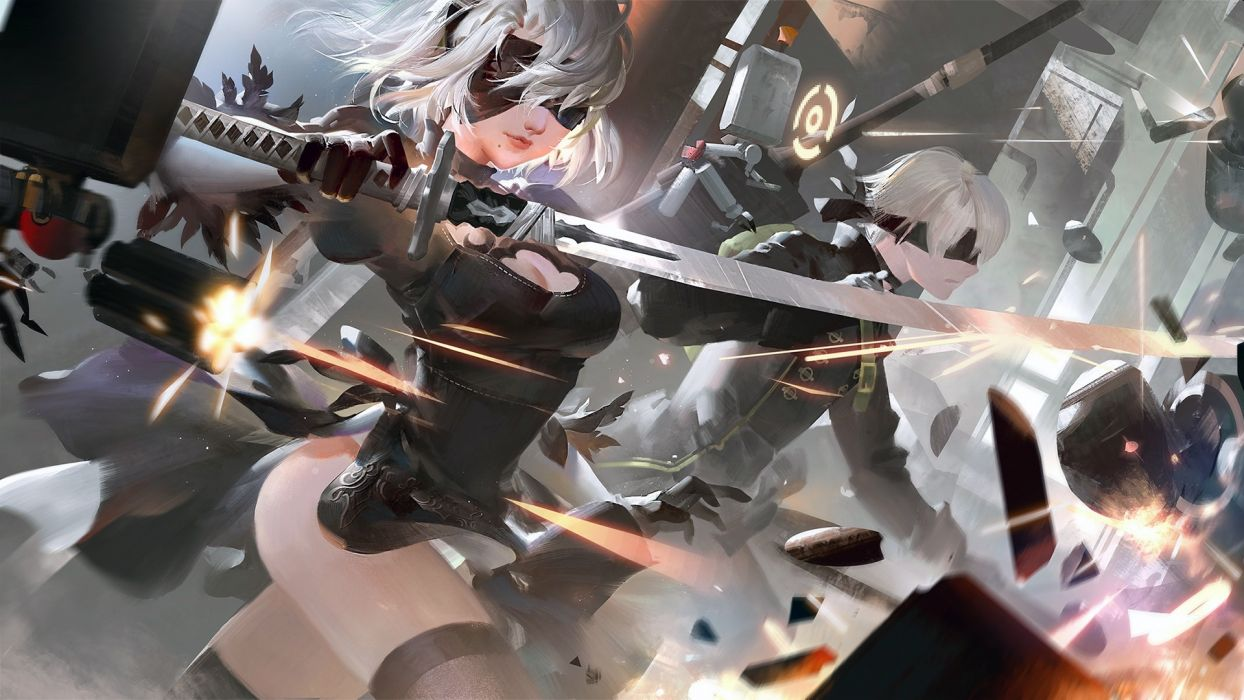 Game sensuality-sensual-sexy-woman-girl-art-Nier Automata-Yorha 2b-9s-blindfold-fighting wallpaper